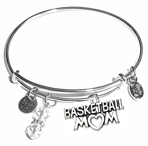 (Message Charm (46 words to choose from) Expandable Wire Bangle Bracelet, in the popular style, COMES IN A GIFT BOX! (Basketball)