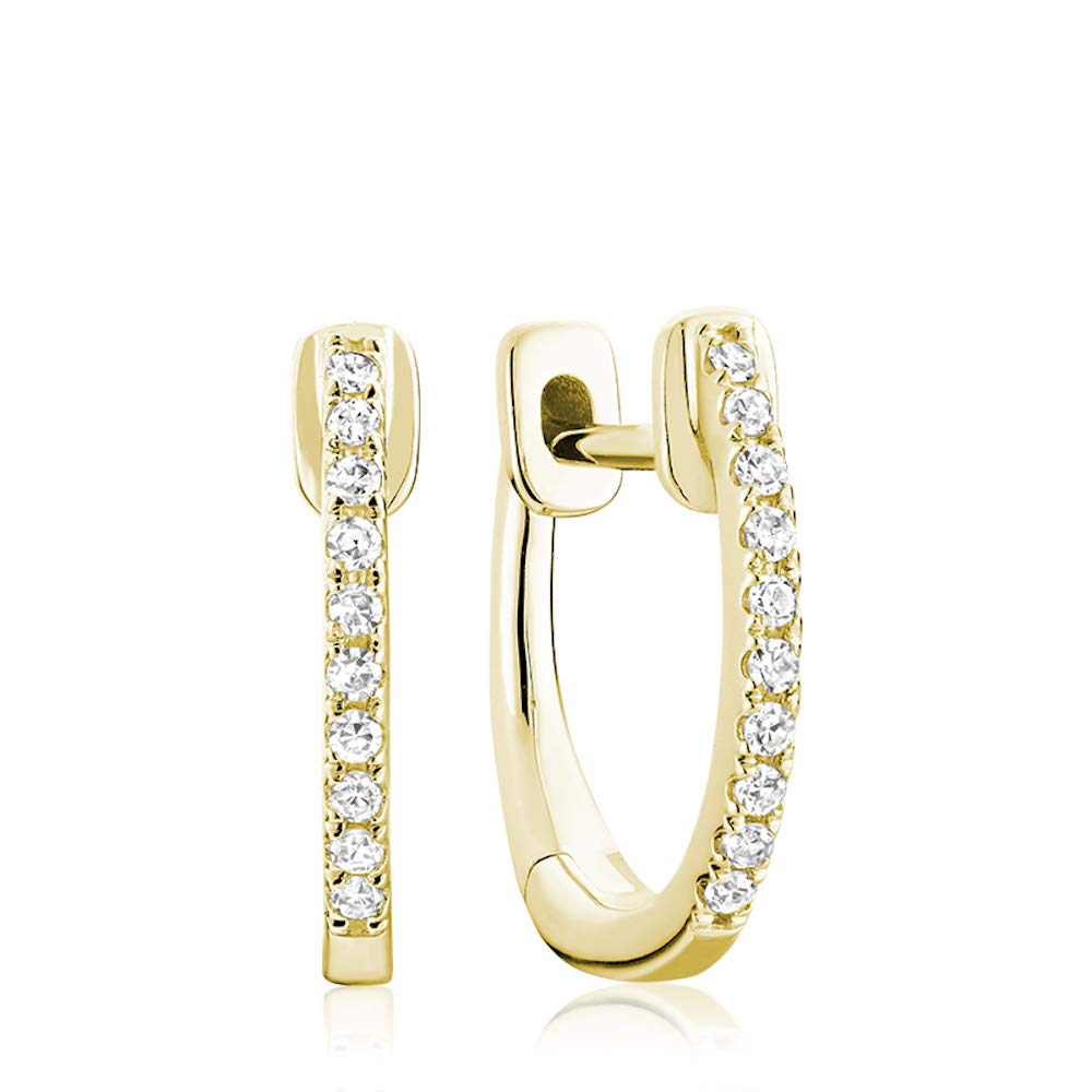 Jewels By Erika E-10081Y 10K Yellow Gold Diamond Hoop Earrings 14MM