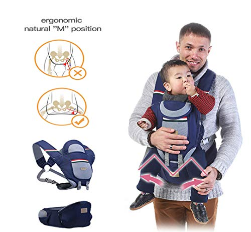 Aidle Seat Baby Carrier, 360 Ergonomic Baby Carrier with Hip seat for Infants and Toddler for All Seasons, Perfect for Nursing, Hiking and Traveling (Navy Blue)
