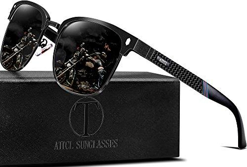ATTCL Mens Driving Polarized Rimless Sunglasses Al-Mg Metal Frame Ultra Light
