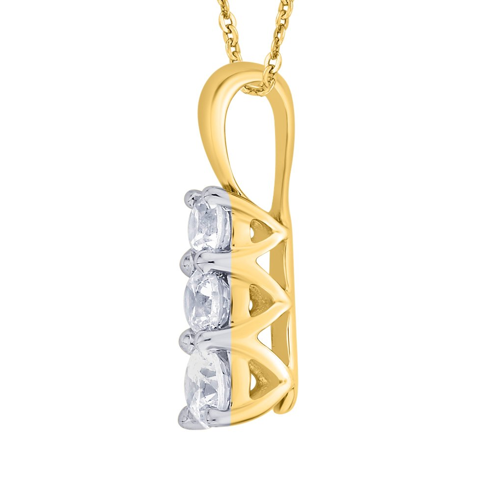 1//4 cttw, J-K, SI2-I1 KATARINA Prong Set Three Stone Graduating Diamond Pendant Necklace in Gold or Silver
