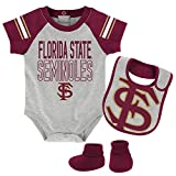 NCAA Florida State Seminoles Newborn & Infant Blitz Bodysuit, Bib & Booties, Heather Grey, 18 Months