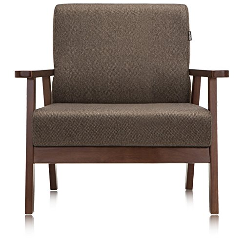 Krei Hejmo Vintage Brown Wooden Low-Seat Armchairs Sofa Couch with Fabric (Single-Seater, Dark Brown Wood/Dark Mocha Fabric)