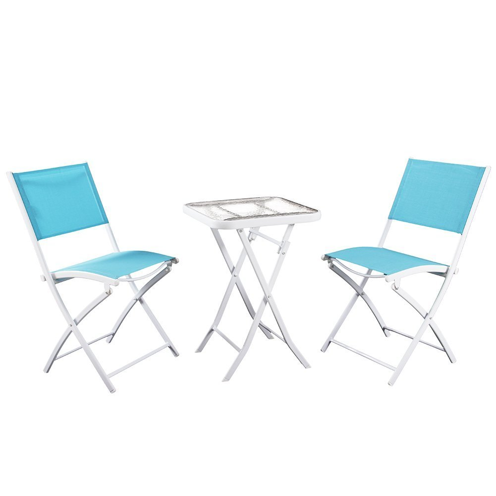 PHI VILLA 3 PC Textilene Portable Foldable Patio Chairs and Table Set, 2 Chairs & 1 Table, Turquiose by PHI VILLA (Image #2)