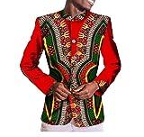 Vska Mens Mulit Color Africa Dashiki Single Breasted Coat Slim Fit Blazer 1 XL