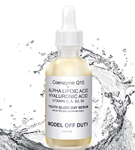 Model off Duty Beauty Youth Glow Day Serum | Made w/Natural & Organic Ingredients Coenzyme Q10, Hyaluronic Acid, DMAE, Niacinamide, Vitamin A, C, B3, B5 | Anti Aging, Antioxidant, Brighten Glow -2 oz