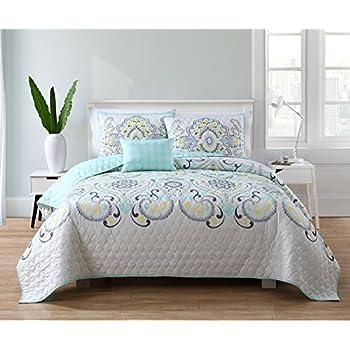 Amazon Com Vcny Home Azure 4 Piece Reversible Bedding