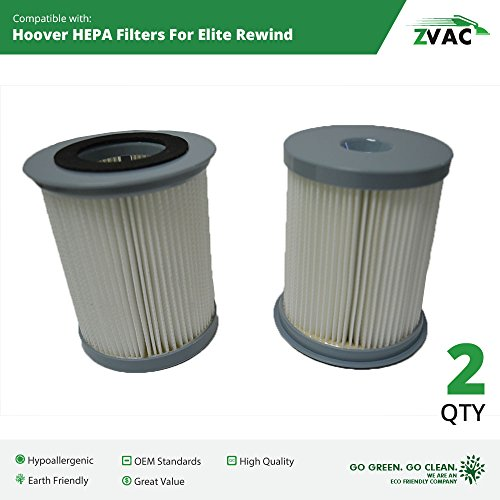 2 Hoover Elite Rewind Upright Exhaust HEPA Filter Generic Part By ZVac. Replaces Part Numbers 59157055 Fits: Hoover Elite Rewind U5507-900 Series Upright Vacuum Cleaners