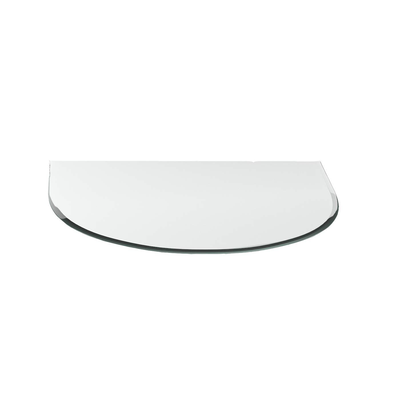 Funkenschutzplatte ESG 8mm Glasplatte Bodenplatte Kaminplatte Funkenschutz Ofenplatte Kaminglas ohne Dichtlippe G1 Rundbogen 1200mm x 1000mm x 8mm