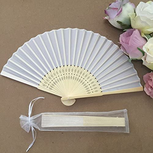 Dproptel Drawstring Organza Folding Hand Fan Pouches Party Wedding Favor Gift Bags 2 x 10 Inches White 50PCS