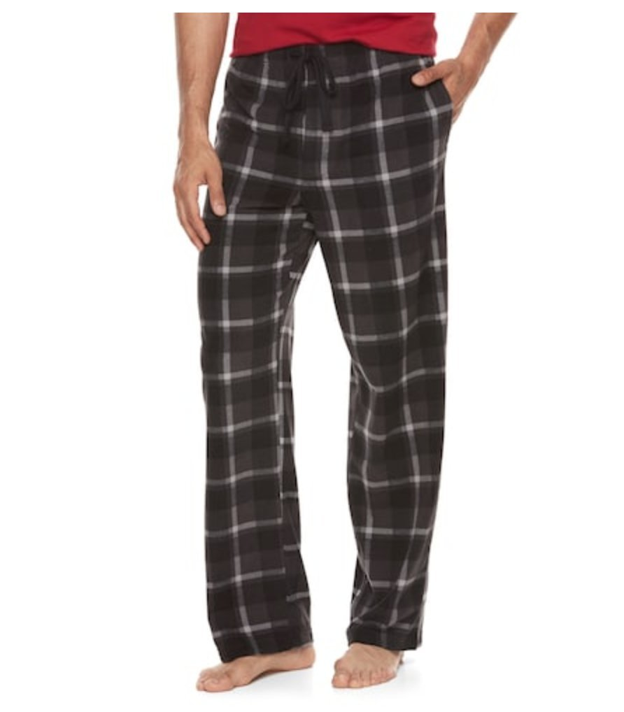Croft & Barrow Mens Patterned Microfleece Lounge Pants Pajama Bottoms (Small, Grey Black Plaid)
