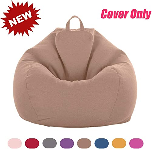 Bean Bag Chair Cover Only Without Filling Extra Large Stuffed Animal Storage Bean Bag Chair No Filler with Stuffable Zipper Memory Foam Bean Bag Replacement Cover for Kids Adults