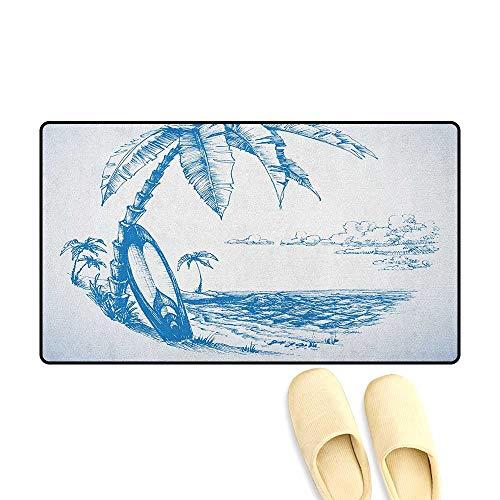zojihouse Surf Door Mat Increase Contemporary Sketch Illustration Hawaiian Beach with Surfboard Palms and Ocean Water Size:24