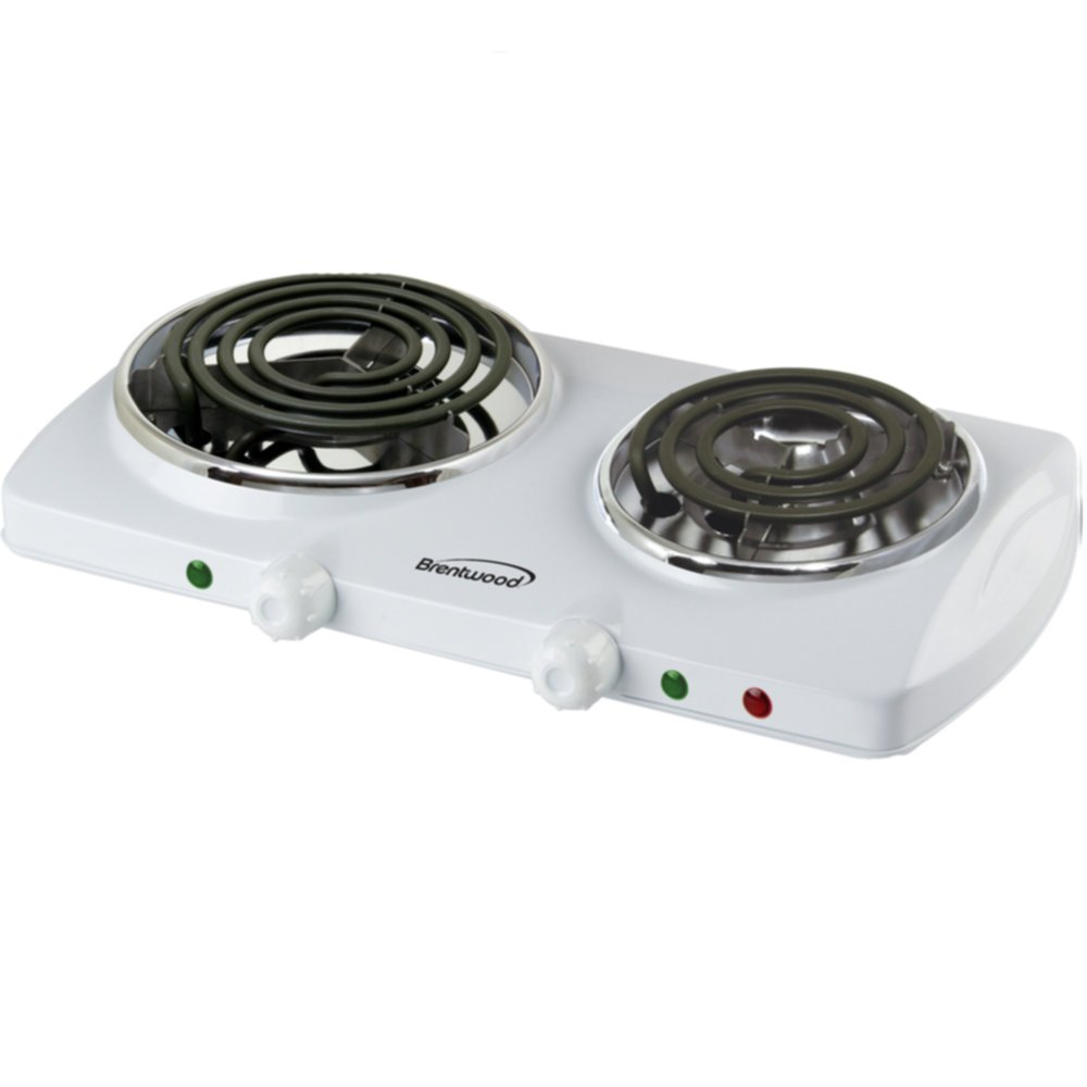 White Brentwood Ts-368 Countertop Electric 1500W double Burner Spiral Home & Garden