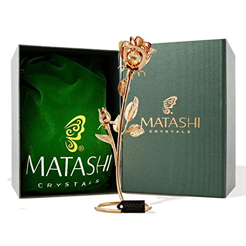 Double Rose Crystal Studded Loving Flower Ornament Dipped in 24K Gold, Within Luxury Box, by Matashi  - Great Idea for Girlfriend and Loved One - Ornament Gold Leaf