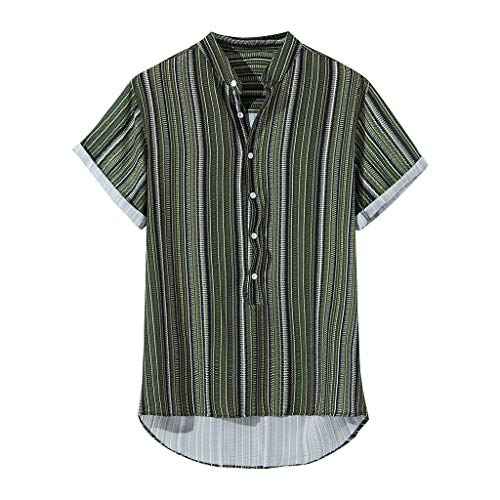 Mens Buttons Shirts Summer Vintage Striped Fly Breathable Short Sleeve Casual Henley Tops (XL, Green)