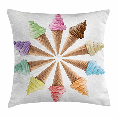 - Ambesonne Ice Cream Decor Throw Pillow Cushion Cover, Cones with Various Flavors Forming a Stylish Row Summer Season Picture, Decorative Square Accent Pillow Case, 16 X 16 inches, Multicolor