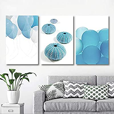 3 Panel Canvas Wall Art - Blue Balloons and Sea Urchins - Giclee Print Gallery Wrap Modern Home Art Ready to Hang - 16