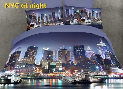 Dolce Mela DM457K NYC at Night City Themed Duvet Cover Set, King