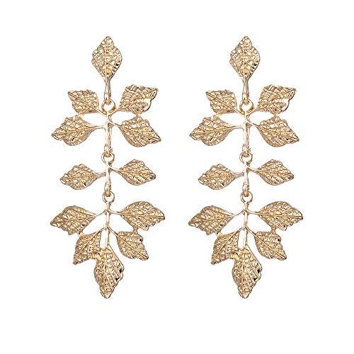 Leaf Earrings - Studs Ear Crawler Earrings Ear Wrap Pin Cute Women Vine Pierced Charms Hoops Jewelry (A)