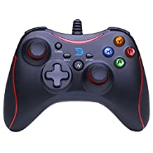 Zhidong N Full Vibration Feedback USB Wired Controller Gamepad Joystick For Windows XP/7/8/8.1 & Android & PS3 (Xbox360 Style) Black&Red - Not support the Xbox 360