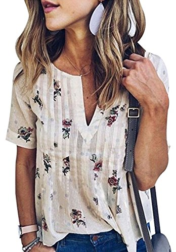 Cute Shirts Womens Boho V Neck Short Sleeve Floral Print Blouses Loose-fit Tee Tops