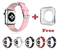 Apple Watch Band, Genuine Leather Replacement Strap Wristband With Free Metal Adapters + Bonus Clear Silicone TPU Protective Case for Apple Watch/ Sport/ Edition 42mm, pink