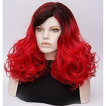 ligaosheng Pelucas sintéticas Ondulado Medio Pelo Ombre Rojo Mujer Sin Tapa Peluca de Halloween Media Pelo