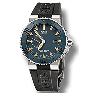 Oris Maldives Limited Edition Blue Dial Automatic Rubber Mens Watch 01 643 7654 7185 Set-RS
