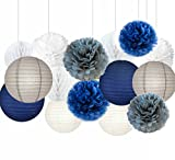 Sogorge Mermaid Party Decorations /Under the Sea Party 15pcs Navy Blue White Grey 10inch 8inch Tissue Paper Pom Pom Paper Lanterns for Birthday Decor Baby Shower Decorations
