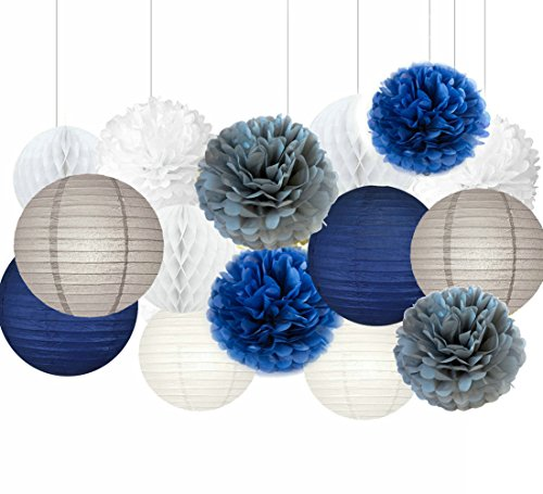 Sogorge Mermaid Party Decorations /Under the Sea Party 15pcs Navy Blue White Grey 10inch 8inch Tissue Paper Pom Pom Paper Lanterns for Birthday Decor Baby Shower Decorations by Sogorge