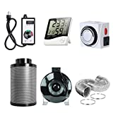 6 inch duct fan carbon filter - PrimeGarden 6'' Inline Fan Carbon Filter Ducting Combo + Variable Fan Speed Controller + Hygrometer Thermometer + 24 Hour Timer Outlet for Hydroponic Grow Tent Ventilation System (6'' Ventilation Kit)