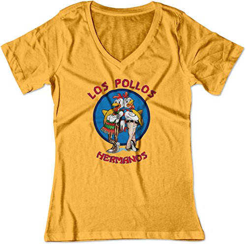 BSW Women's Los Pollos Hermanos Fried Chicken V-Neck Shirt LRG Gold (Bad Pop Crystal Breaking Ship)