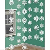 Amscan Christmas 3-D Snowflake Foil 7-Feet String Decorations, White, Pack of 6