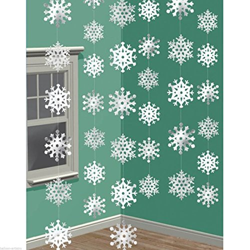 Amscan Christmas 3-D Snowflake Foil 7-Feet String Decorations, White, Pack of 6 -