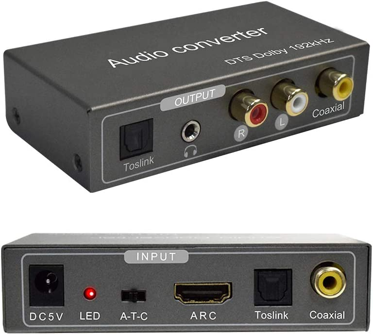 192KHz Multi-Function Audio Converter,Tiancai HDMI ARC or Toslink (Optical,SPDIF) or Coaxial to 3.5 mm Jack + Stereo R/L + Toslink (Optical,SPDIF) + Coaxial, Support Multi-Ports Output Simultaneously