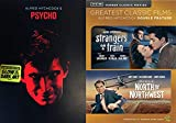 Alfred Classic Hitchcock Horror and Suspense Triptych - Psycho (Glow-In the Dark Slipcover Art), Stranger's On a Train and North By Northwest 3-DVD Bundle
