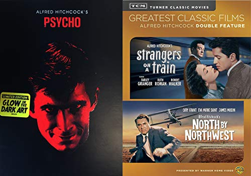 (Alfred Classic Hitchcock Horror and Suspense Triptych - Psycho (Glow-In the Dark Slipcover Art), Stranger's On a Train and North By Northwest 3-DVD Bundle)