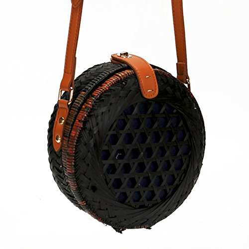 Women Bags Bag Round Shoulder iShine Summer Bags Bamboo Handmade iShine Weave Bag Balck Crossbody Beach fP5HqEEw7