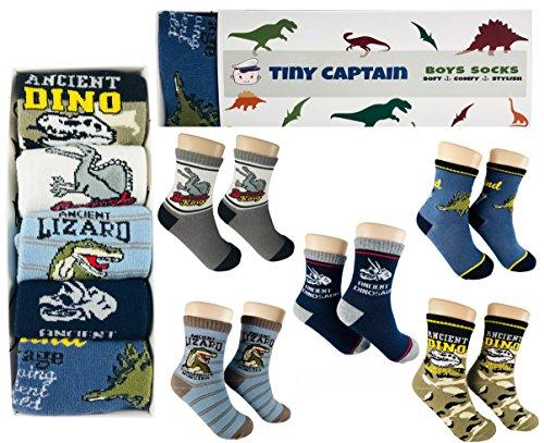 Tiny Captain Boy Dinosaur Socks 4-7 Year Old Boys Crew Cotton Sock Perfect Age 5 Gift Set (Medium, Green And Grey) by Tiny Captain (Image #1)