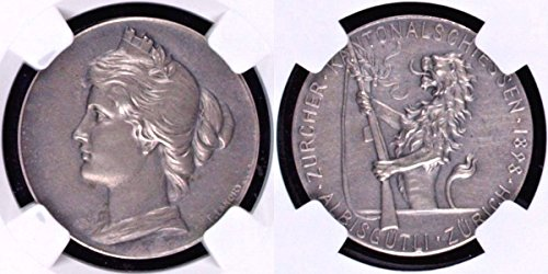 1898 CH Swiss 1898 Silver Shooting Medal Zurich R-1777b S coin MS 63 NGC
