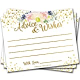50 Advice Cards Gold Floral White - Wedding, Bridal Shower, Retirement, Graduation, Any Occasion, Fun Party Activity Keepsake, Includes Sticker for Hostess