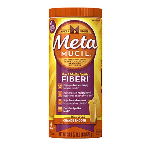 Metamucil Daily Fiber Powder Supplement, 100% Natural Psyllium Husk, Orange Smooth Sugar Fiber Powder, 48 Dose, 20.3 Ounce - Metamucil Multihealth Fiber
