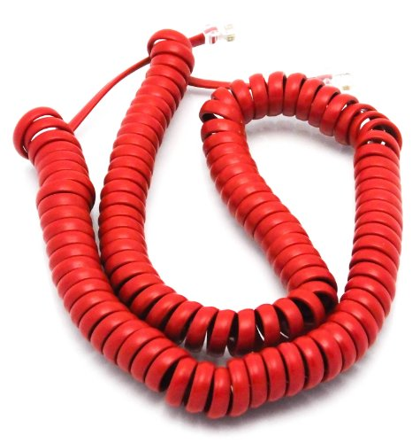 Telephone Cord Handset Curly - Phone Color Crimson Red 15ft