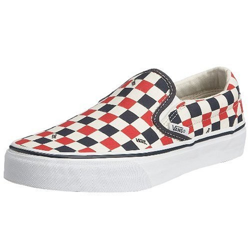 Vans Classic Slip-On - Mocasines unisex Azul / Blanco / Rojo (Navy/Red/White Logo Check)