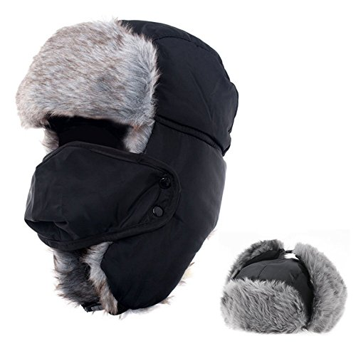 AYAMAYA Boys Trapper Hat, Winter Ushanka Russian Style with Ear Flaps Windproof Mask Trooper Hat,Hunting/Aviator/Ski Faux Fur Hats with Face Mask for Men/Women/Kids Christmas Day Gifts -Black