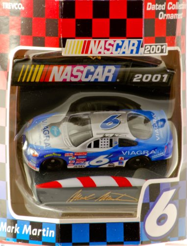 2001 - Trevco - NASCAR - Mark Martin #6 - Dated Collectible Ornament - Viagra / Ford Taurus - Christmas Decoration - Out of Production - Rare - Limited Edition - Collectible