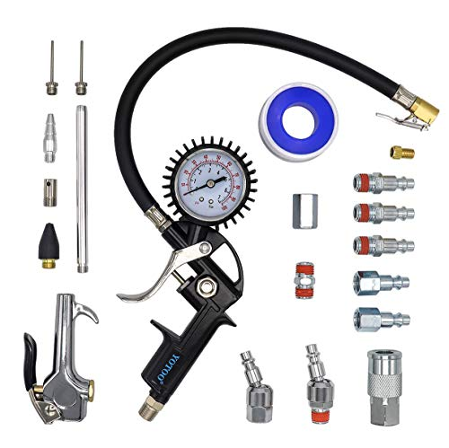 YOTOO Heavy Duty Air Compressor Accessory Kit 20-Piece, 1/4″ NPT Air Tool Kit with 100 PSI Tire Inflator Gauge, Heavy Duty Air Blow Gun and Air Hose Fittings