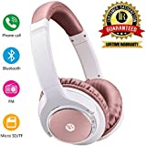 Bluetooth Headphones Over Ear, Hi-Fi Stereo Wireless Headset, Super Comfortable Headphones with Soft Memory-Protein Earmuffs, Bluetooth Headset with Mic for PC/Cell Phones (Rose Gold)