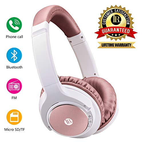 Bluetooth Headphones Over Ear, Hi-Fi Stereo Wireless Headset, Headphones with Soft Memory-Protein Earmuffs, Bluetooth Headset with Mic for PC/Cell Phones (Rose Gold)